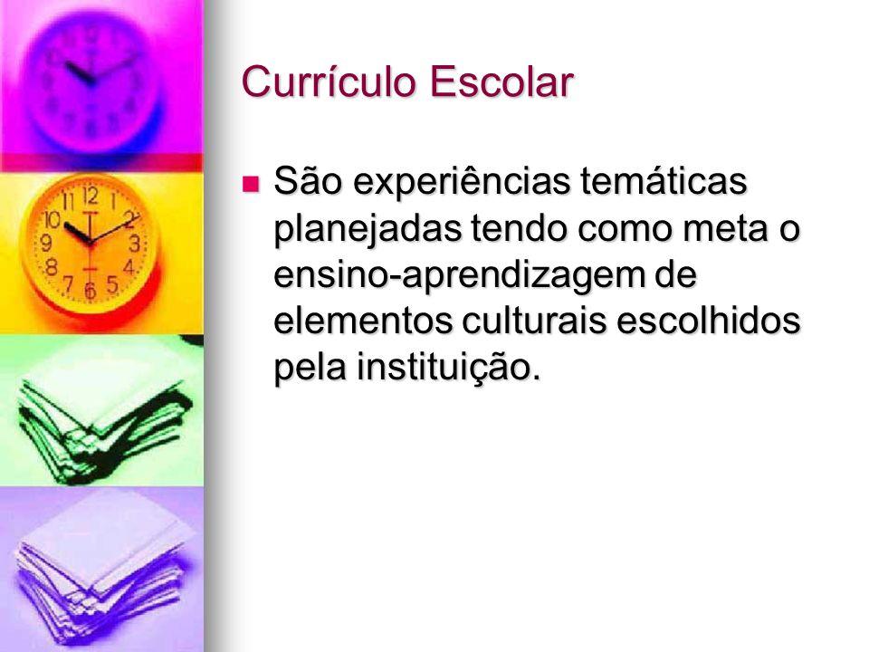 Currículo EscolarSão experiências temáticas planejadas tendo como meta o ensino-aprendizagem de elementos culturais escolhidos pela instituição.