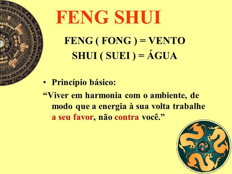 FENG SHUI FENG ( FONG ) = VENTO SHUI ( SUEI ) = ÁGUA Princípio básico: