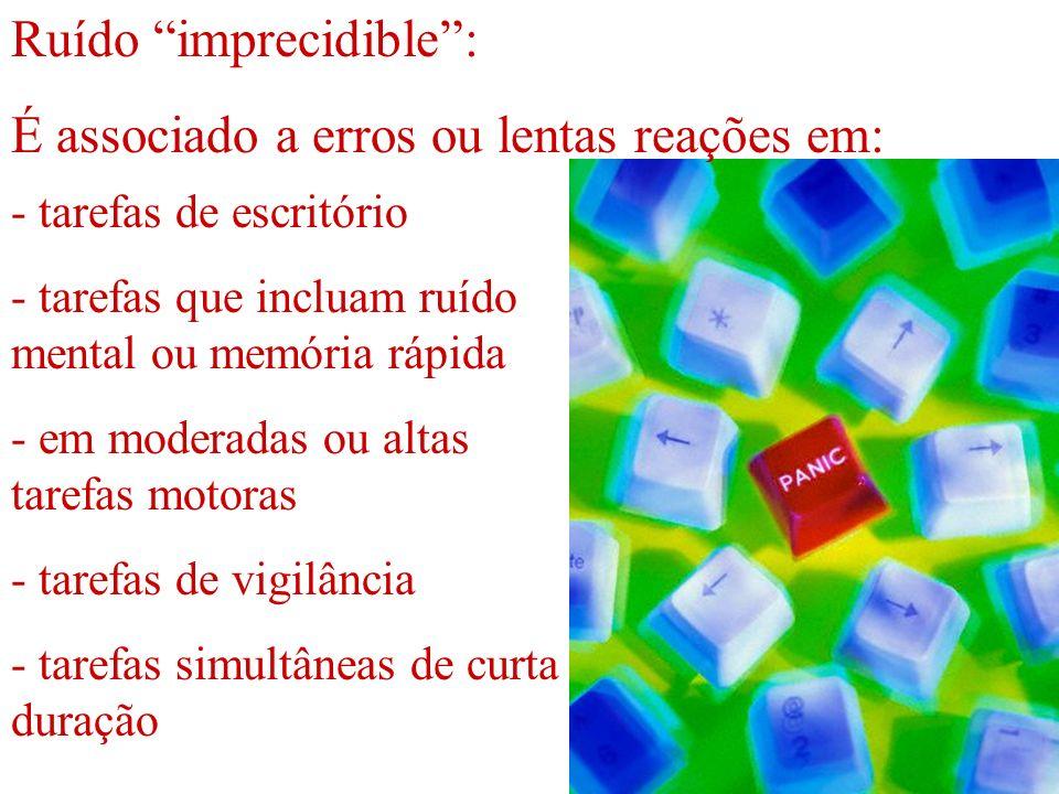 Ruído imprecidible : É associado a erros ou lentas reações em:
