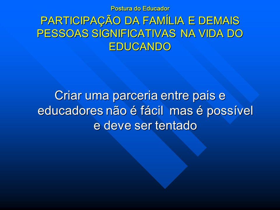 Postura do Educador PARTICIPAÇÃO DA FAMÍLIA E DEMAIS PESSOAS SIGNIFICATIVAS NA VIDA DO EDUCANDO