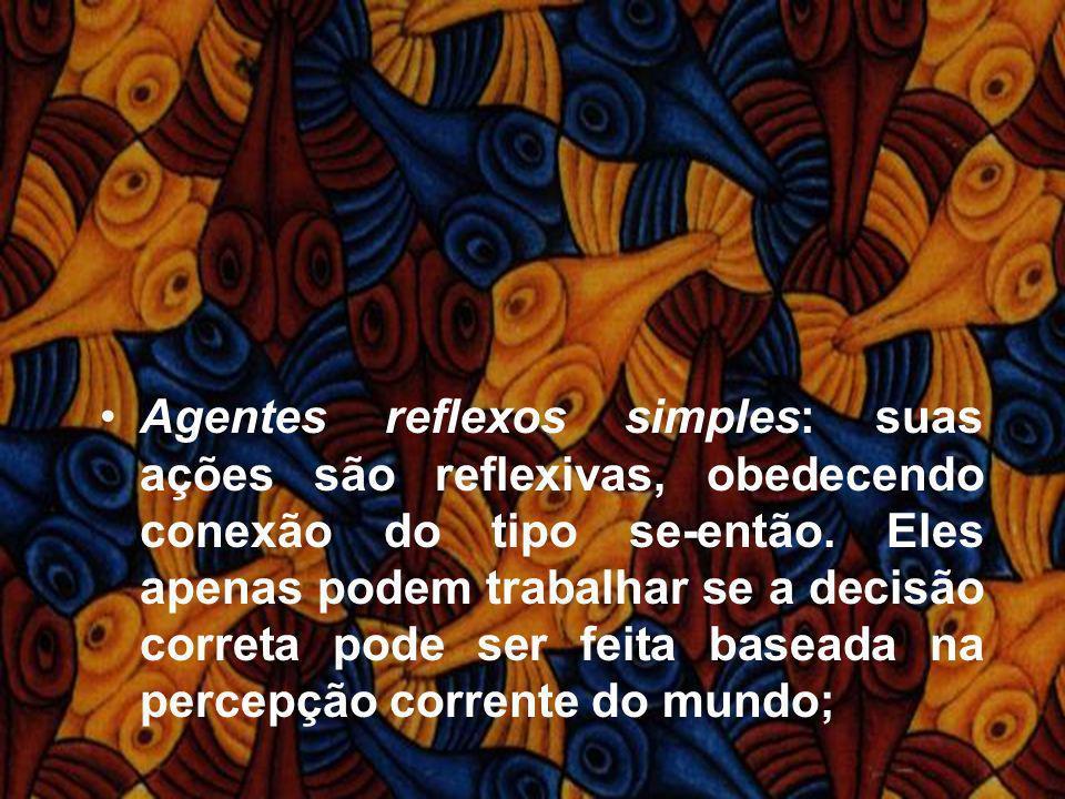 Agentes reflexos simples: suas ações são reflexivas, obedecendo conexão do tipo se-então.