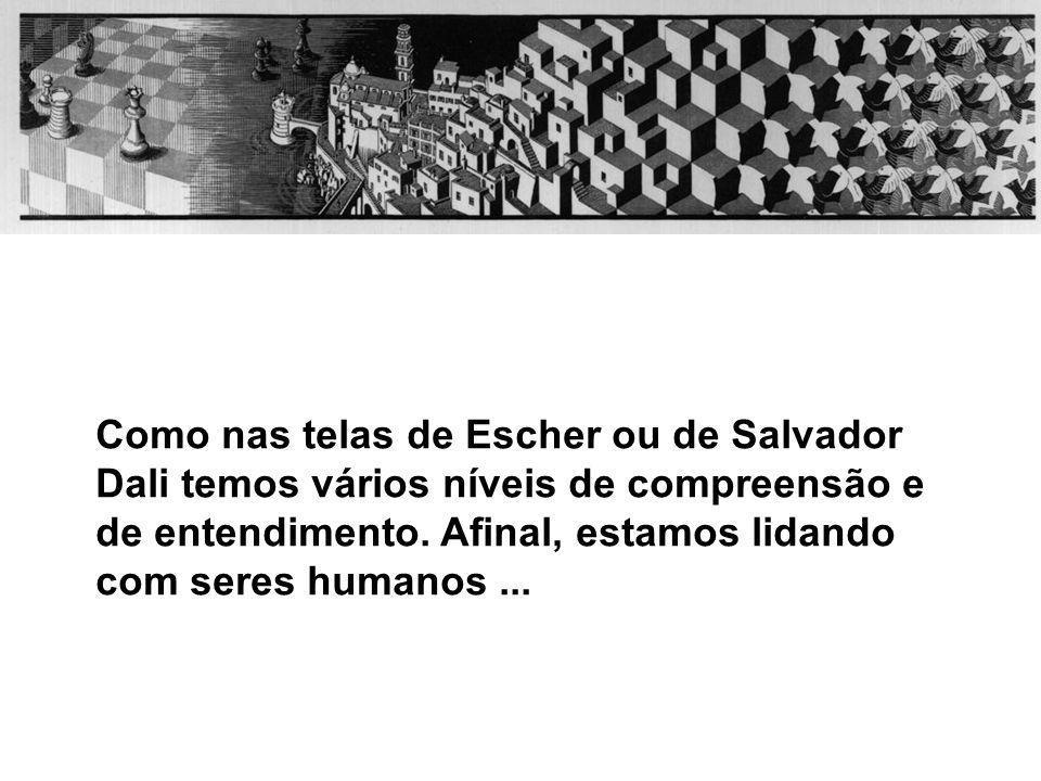 Como nas telas de Escher ou de Salvador Dali temos vários níveis de compreensão e de entendimento.