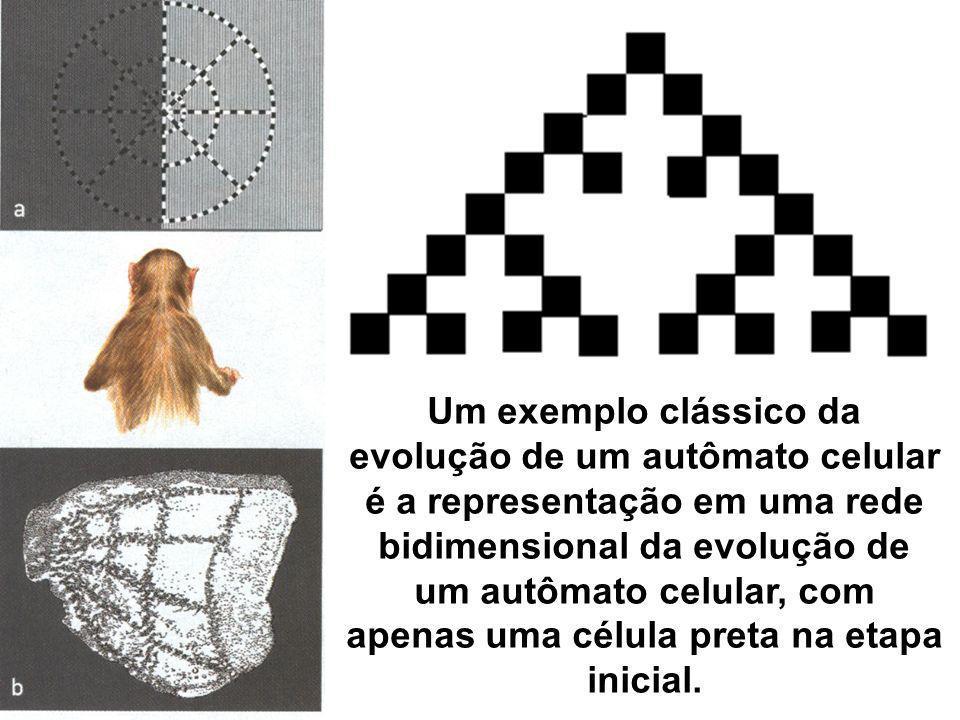 Um exemplo clássico da evolução de um autômato celular é a representação em uma rede bidimensional da evolução de um autômato celular, com apenas uma célula preta na etapa inicial.