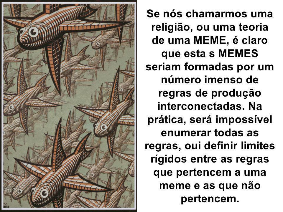 Se nós chamarmos uma religião, ou uma teoria de uma MEME, é claro que esta s MEMES seriam formadas por um número imenso de regras de produção interconectadas.
