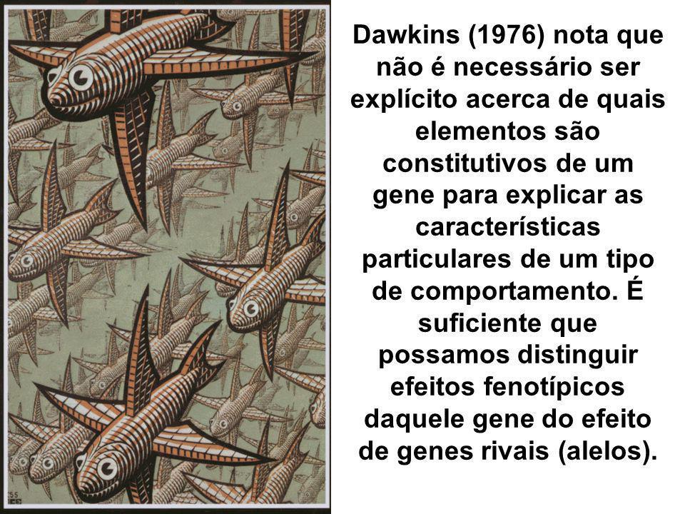 Dawkins (1976) nota que não é necessário ser explícito acerca de quais elementos são constitutivos de um gene para explicar as características particulares de um tipo de comportamento.