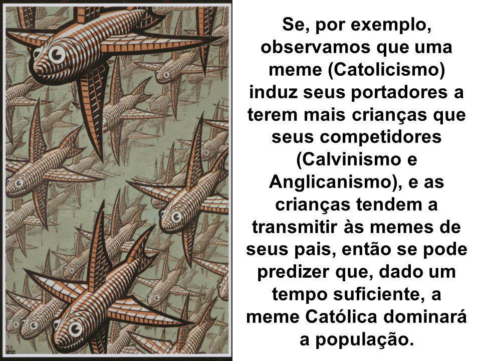 Se, por exemplo, observamos que uma meme (Catolicismo) induz seus portadores a terem mais crianças que seus competidores (Calvinismo e Anglicanismo), e as crianças tendem a transmitir às memes de seus pais, então se pode predizer que, dado um tempo suficiente, a meme Católica dominará a população.