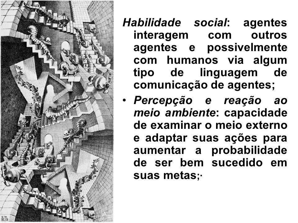 Habilidade social: agentes interagem com outros agentes e possivelmente com humanos via algum tipo de linguagem de comunicação de agentes;
