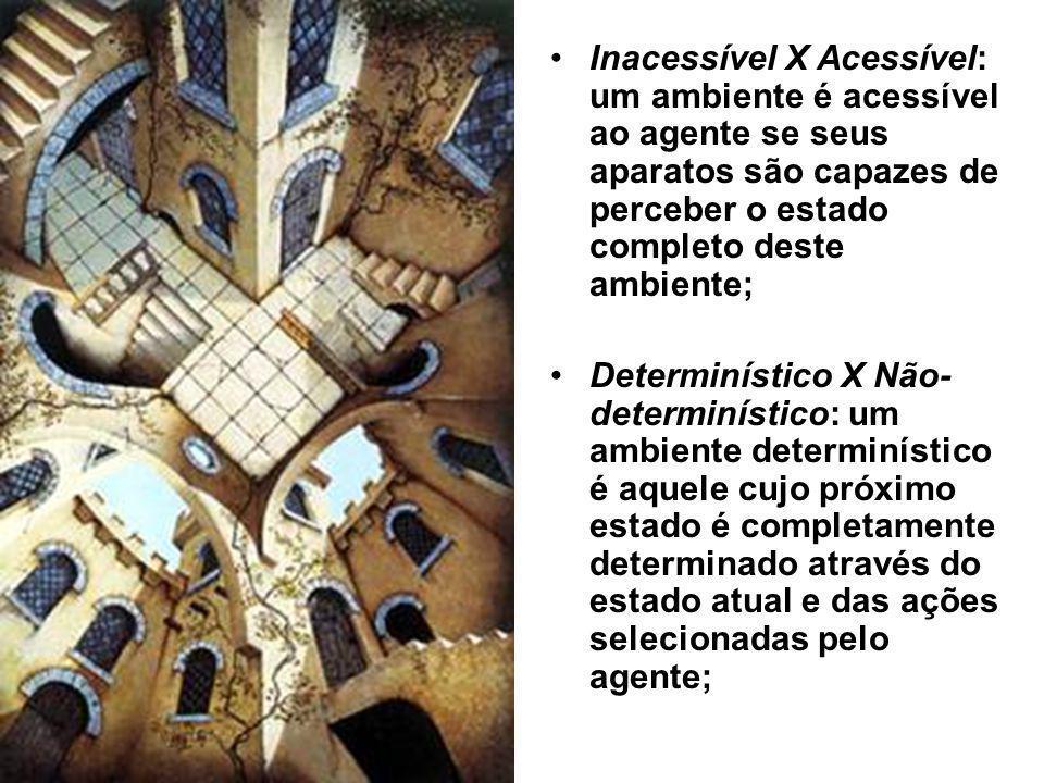 Inacessível X Acessível: um ambiente é acessível ao agente se seus aparatos são capazes de perceber o estado completo deste ambiente;