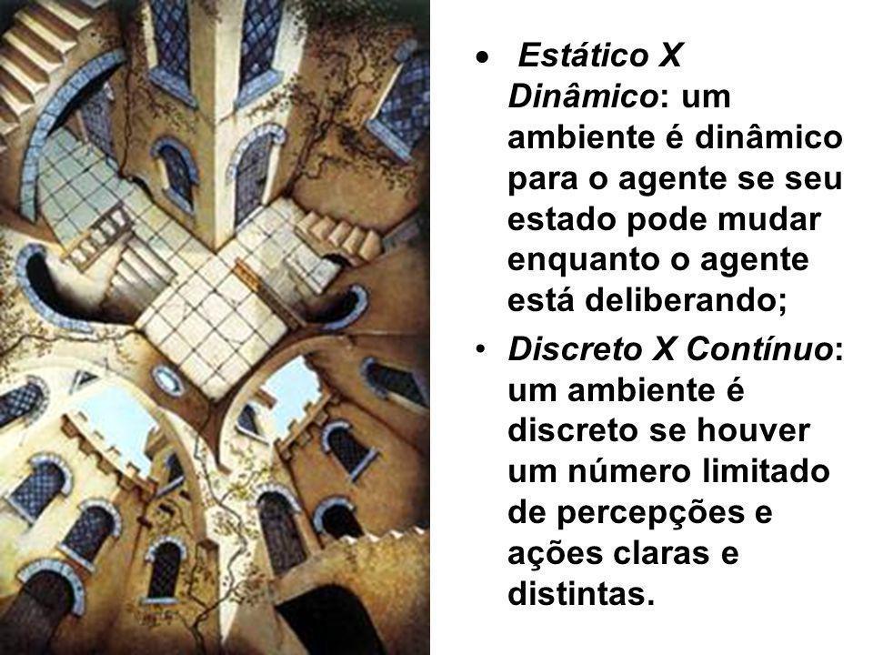 · Estático X Dinâmico: um ambiente é dinâmico para o agente se seu estado pode mudar enquanto o agente está deliberando;