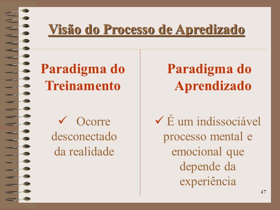 Visão do Processo de Apredizado Paradigma do Treinamento