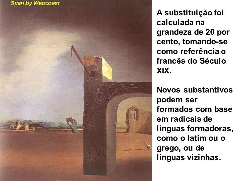 A substituição foi calculada na grandeza de 20 por cento, tomando-se como referência o francês do Século XIX.