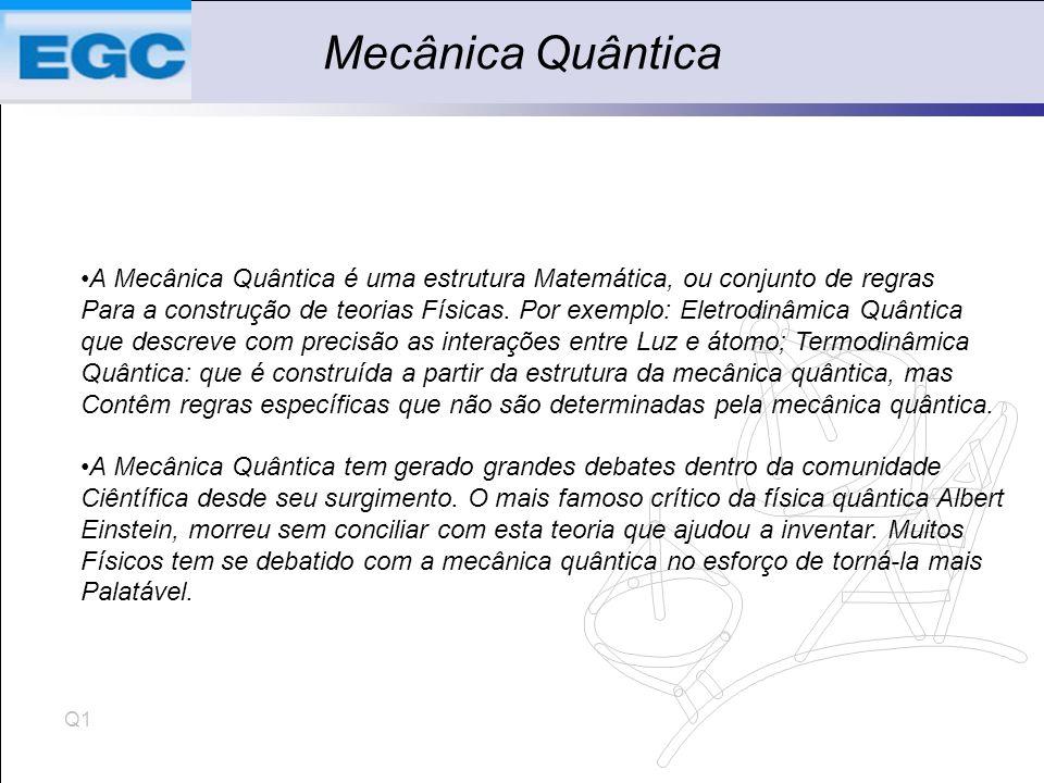 Mecânica Quântica A Mecânica Quântica é uma estrutura Matemática, ou conjunto de regras.