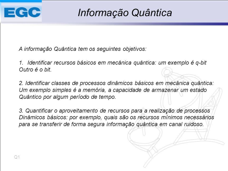 Informação Quântica A informação Quântica tem os seguintes objetivos: