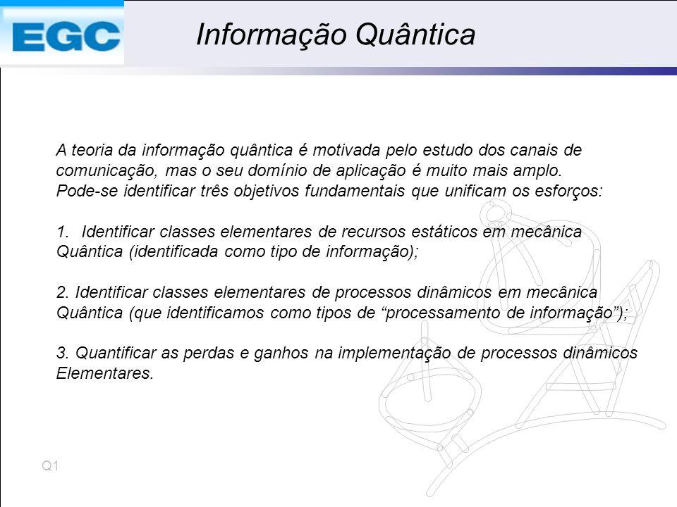 Informação Quântica A teoria da informação quântica é motivada pelo estudo dos canais de.