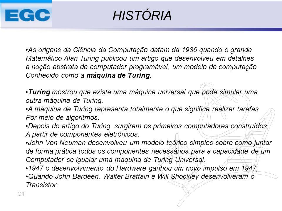 HISTÓRIA As origens da Ciência da Computação datam da 1936 quando o grande. Matemático Alan Turing publicou um artigo que desenvolveu em detalhes.