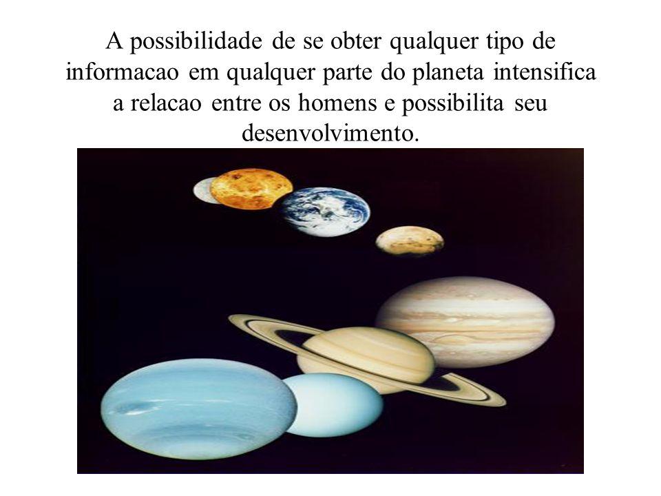 A possibilidade de se obter qualquer tipo de informacao em qualquer parte do planeta intensifica a relacao entre os homens e possibilita seu desenvolvimento.