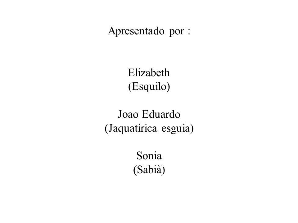 Apresentado por : Elizabeth (Esquilo) Joao Eduardo (Jaquatirica esguia) Sonia (Sabià)