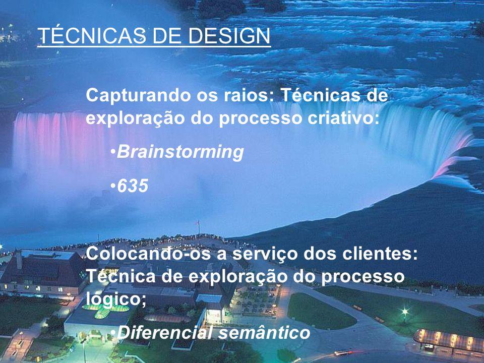 TÉCNICAS DE DESIGN Capturando os raios: Técnicas de exploração do processo criativo: Brainstorming.
