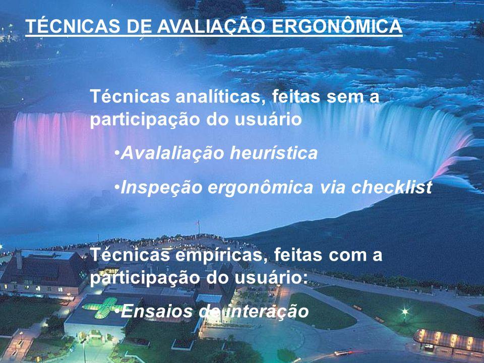 TÉCNICAS DE AVALIAÇÃO ERGONÔMICA