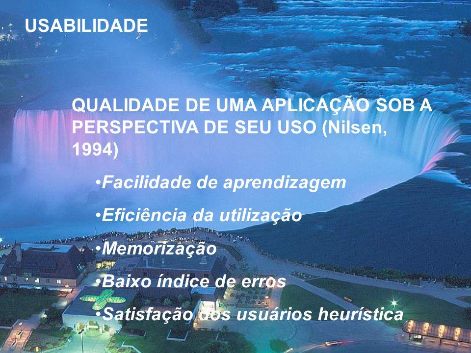 USABILIDADE QUALIDADE DE UMA APLICAÇÃO SOB A PERSPECTIVA DE SEU USO (Nilsen, 1994) Facilidade de aprendizagem.