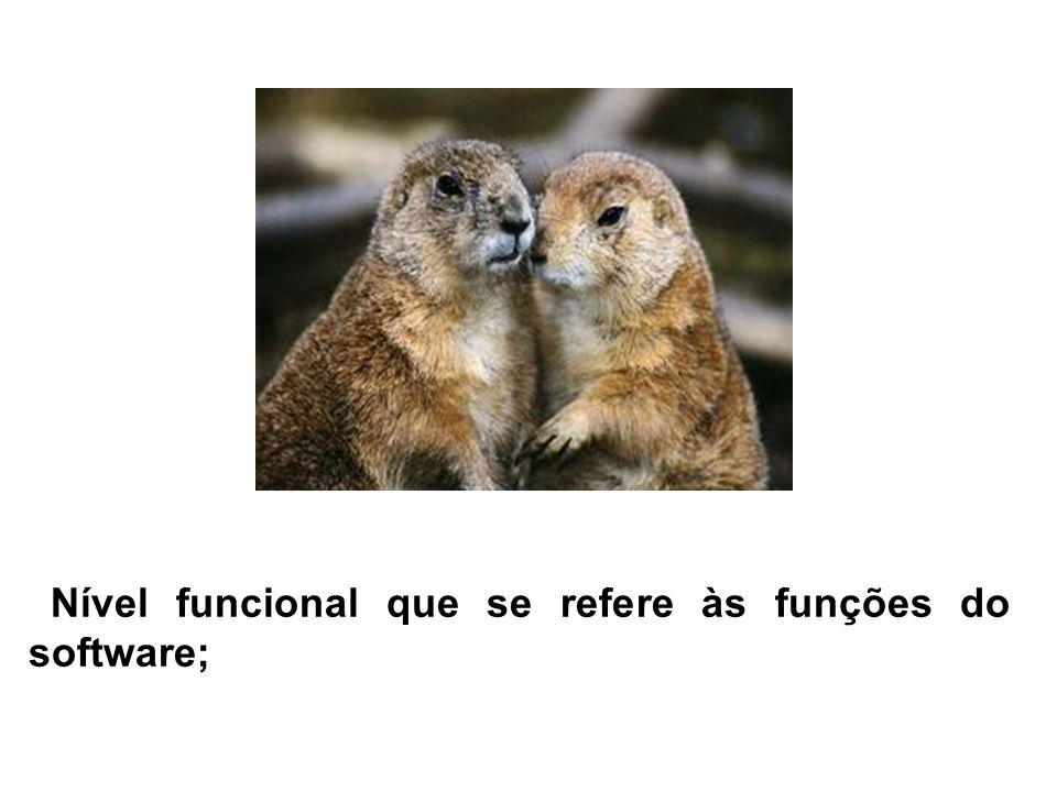 Nível funcional que se refere às funções do software;
