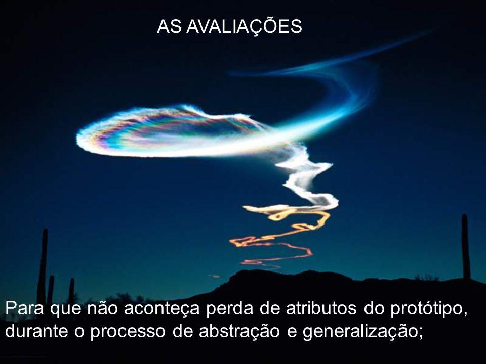 AS AVALIAÇÕES Para que não aconteça perda de atributos do protótipo, durante o processo de abstração e generalização;