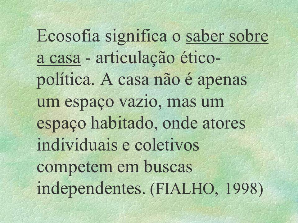 Ecosofia significa o saber sobre a casa - articulação ético-política