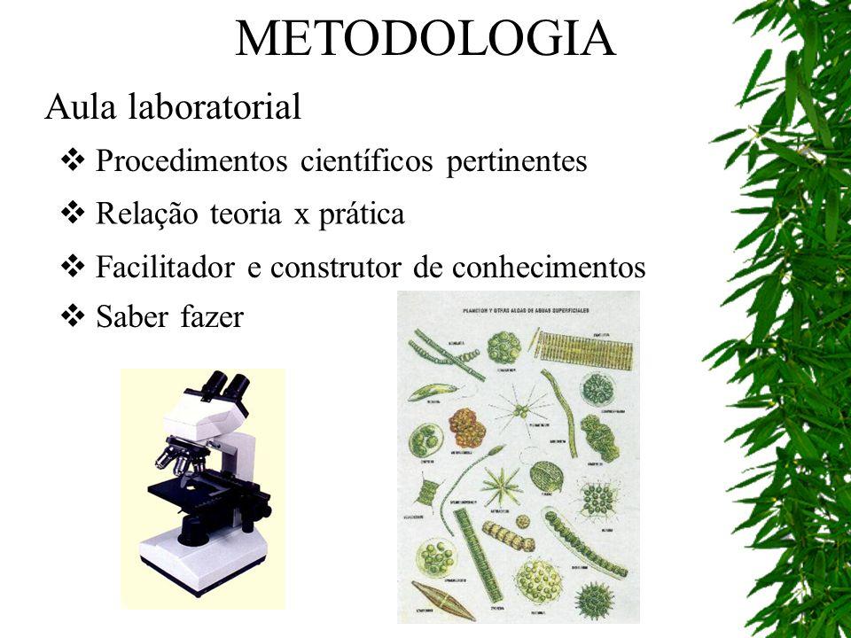 METODOLOGIA Aula laboratorial Procedimentos científicos pertinentes
