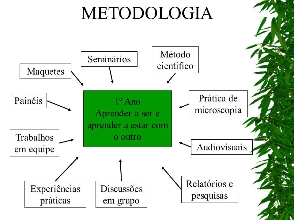 METODOLOGIA Método científico Seminários Maquetes 1º Ano