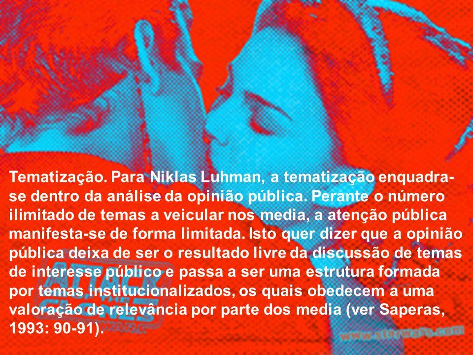 Tematização. Para Niklas Luhman, a tematização enquadra-se dentro da análise da opinião pública.