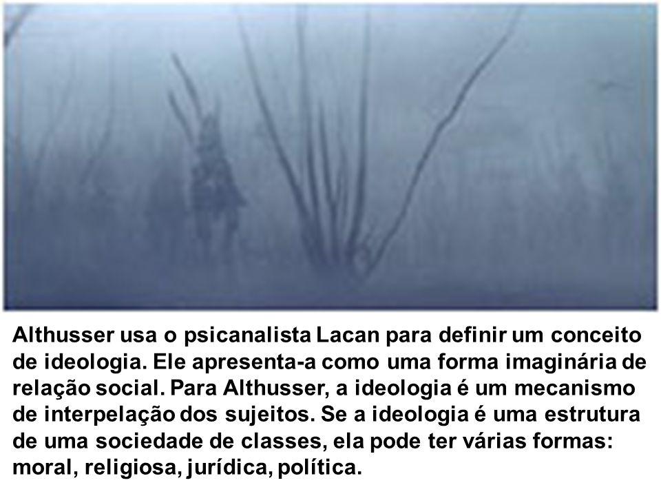 Althusser usa o psicanalista Lacan para definir um conceito de ideologia.