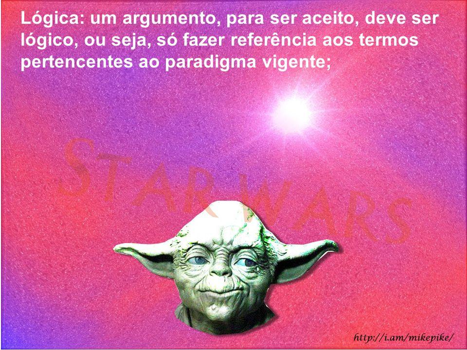 Lógica: um argumento, para ser aceito, deve ser lógico, ou seja, só fazer referência aos termos pertencentes ao paradigma vigente;