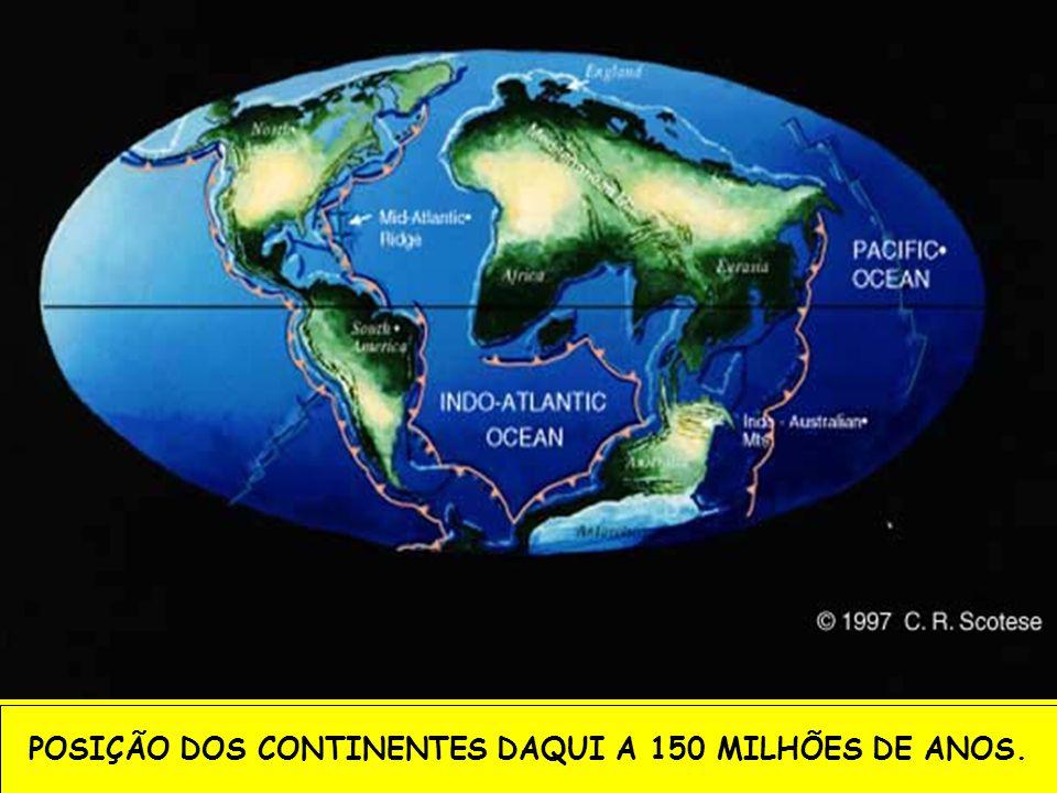 POSIÇÃO DOS CONTINENTES DAQUI A 150 MILHÕES DE ANOS.