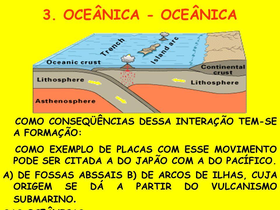 3. OCEÂNICA - OCEÂNICA COMO CONSEQÜÊNCIAS DESSA INTERAÇÃO TEM-SE A FORMAÇÃO: