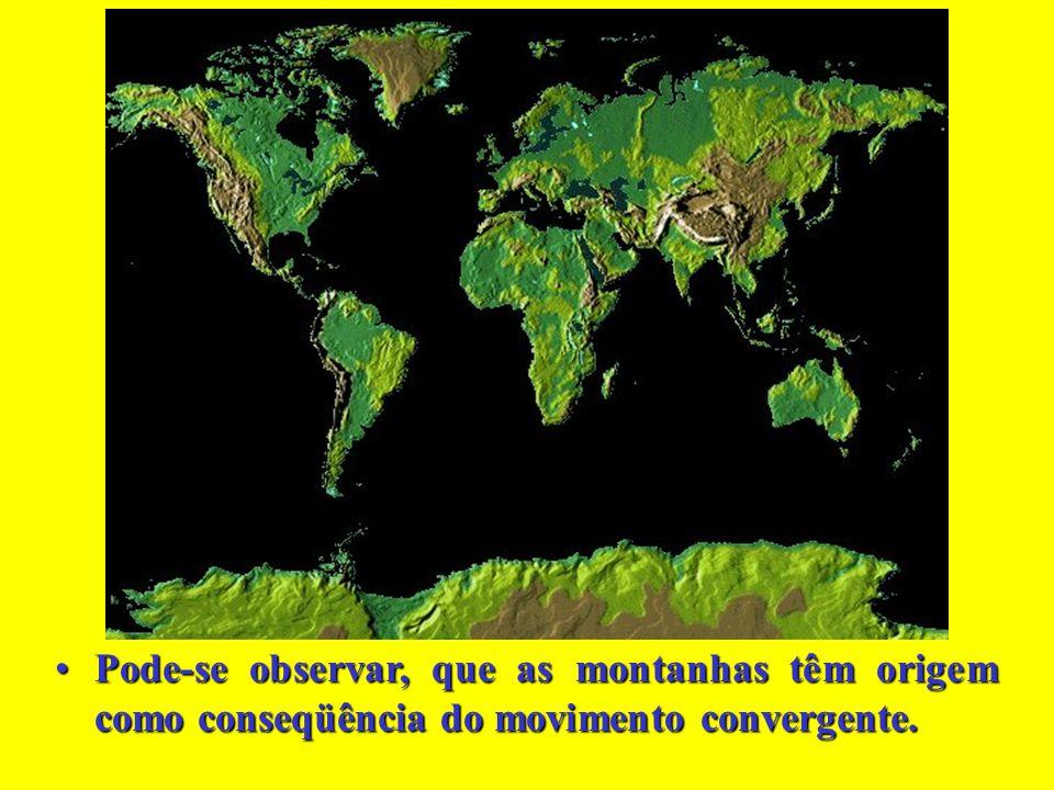 Pode-se observar, que as montanhas têm origem como conseqüência do movimento convergente.
