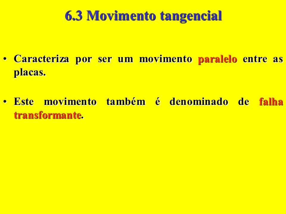 6.3 Movimento tangencial Caracteriza por ser um movimento paralelo entre as placas.