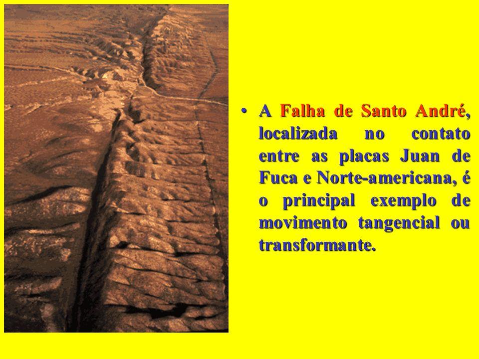 A Falha de Santo André, localizada no contato entre as placas Juan de Fuca e Norte-americana, é o principal exemplo de movimento tangencial ou transformante.
