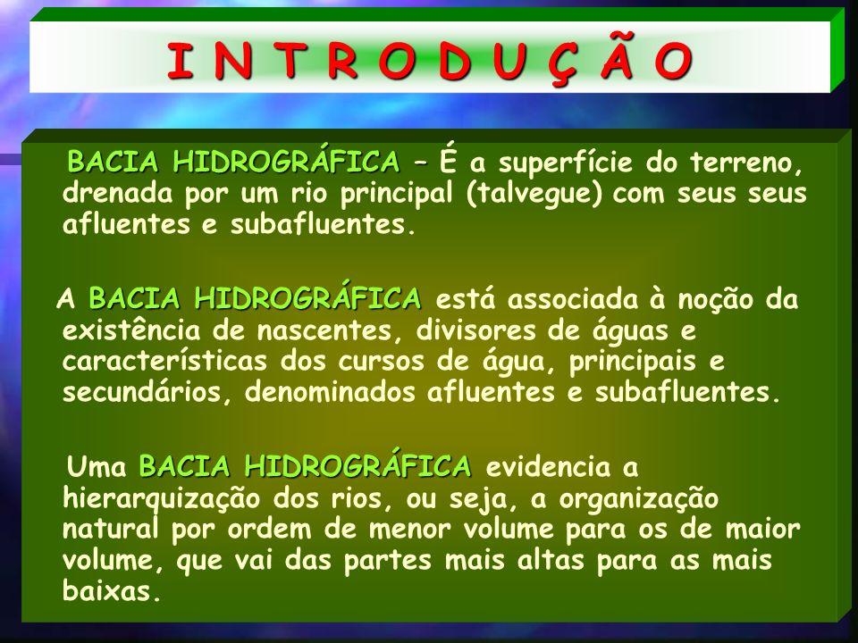 I N T R O D U Ç Ã O BACIA HIDROGRÁFICA – É a superfície do terreno, drenada por um rio principal (talvegue) com seus seus afluentes e subafluentes.