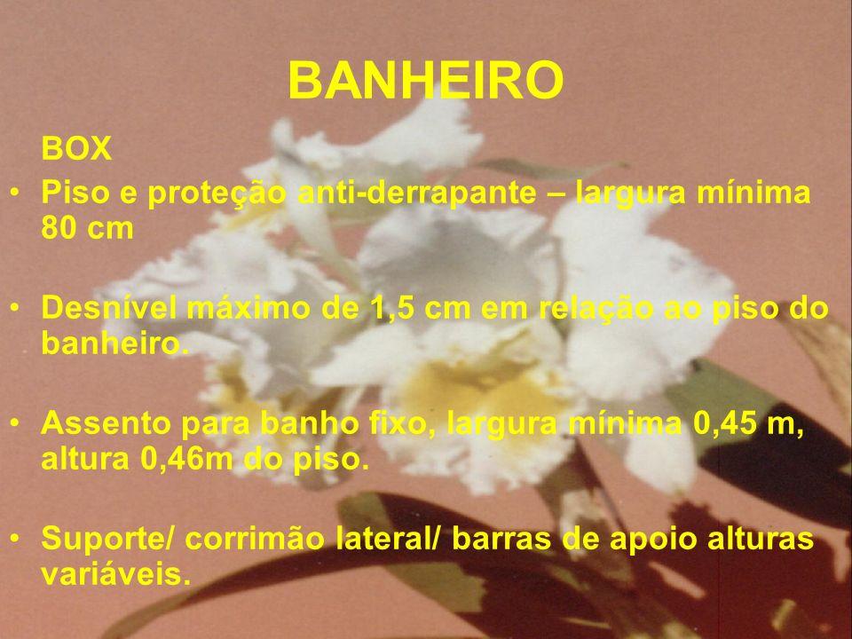 BANHEIRO Piso e proteção anti-derrapante – largura mínima 80 cm