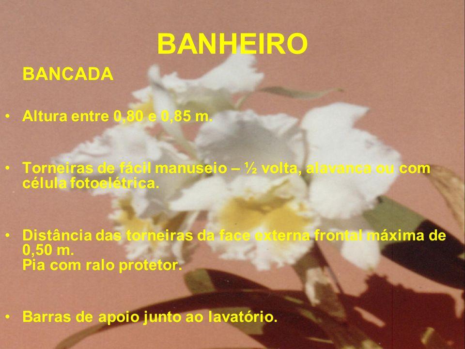BANHEIRO Altura entre 0,80 e 0,85 m.