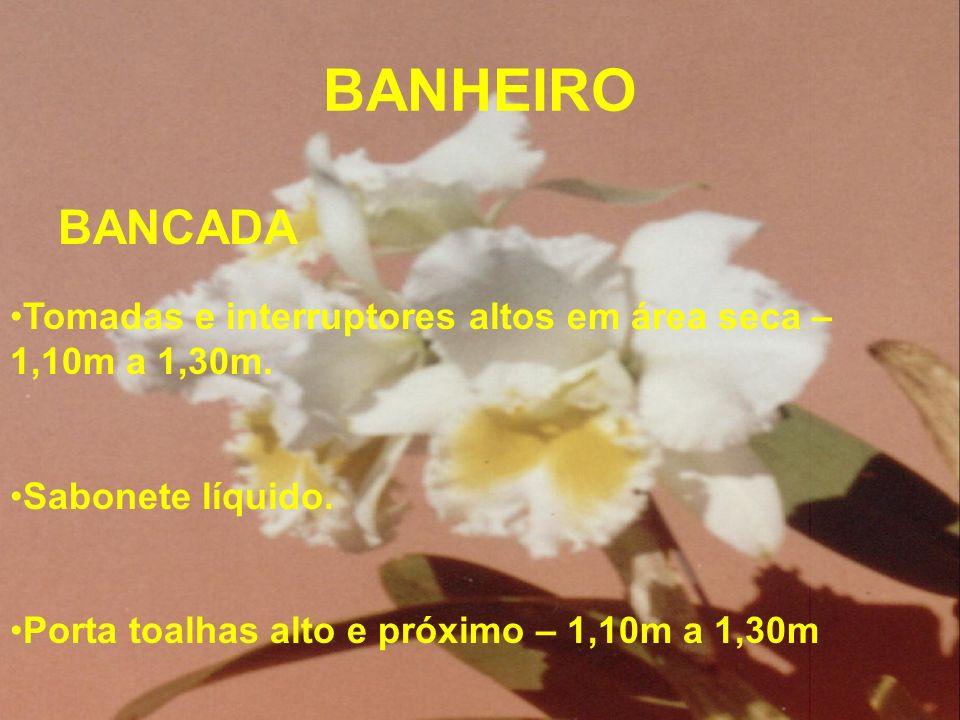 BANHEIRO BANCADA. Tomadas e interruptores altos em área seca – 1,10m a 1,30m. Sabonete líquido.