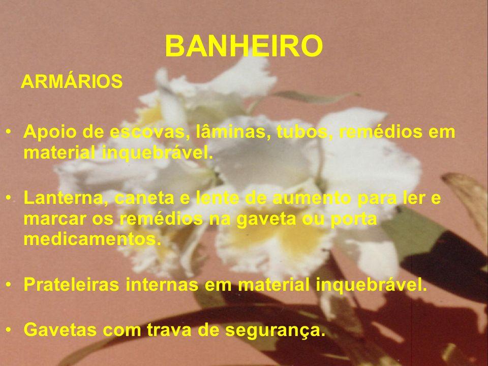 BANHEIRO ARMÁRIOS. Apoio de escovas, lâminas, tubos, remédios em material inquebrável.
