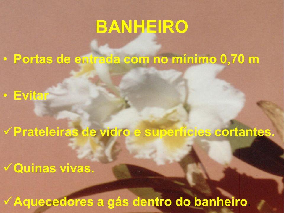 BANHEIRO Portas de entrada com no mínimo 0,70 m Evitar