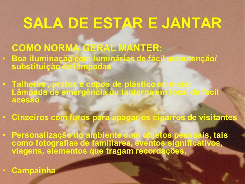 SALA DE ESTAR E JANTAR COMO NORMA GERAL MANTER: