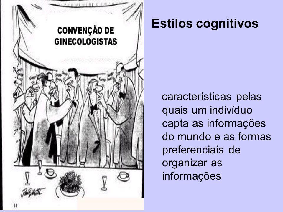 Estilos cognitivos características pelas quais um indivíduo capta as informações do mundo e as formas preferenciais de organizar as informações.