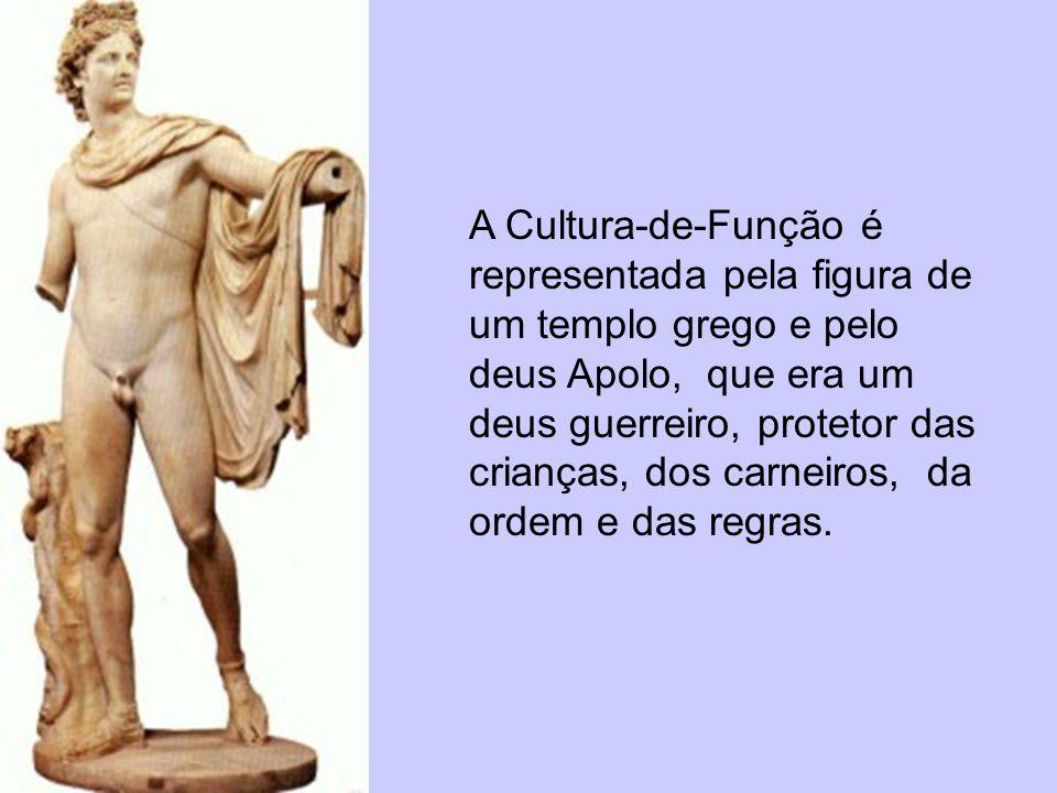 A Cultura-de-Função é representada pela figura de um templo grego e pelo deus Apolo, que era um deus guerreiro, protetor das crianças, dos carneiros, da ordem e das regras.