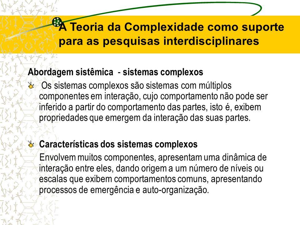 A Teoria da Complexidade como suporte para as pesquisas interdisciplinares