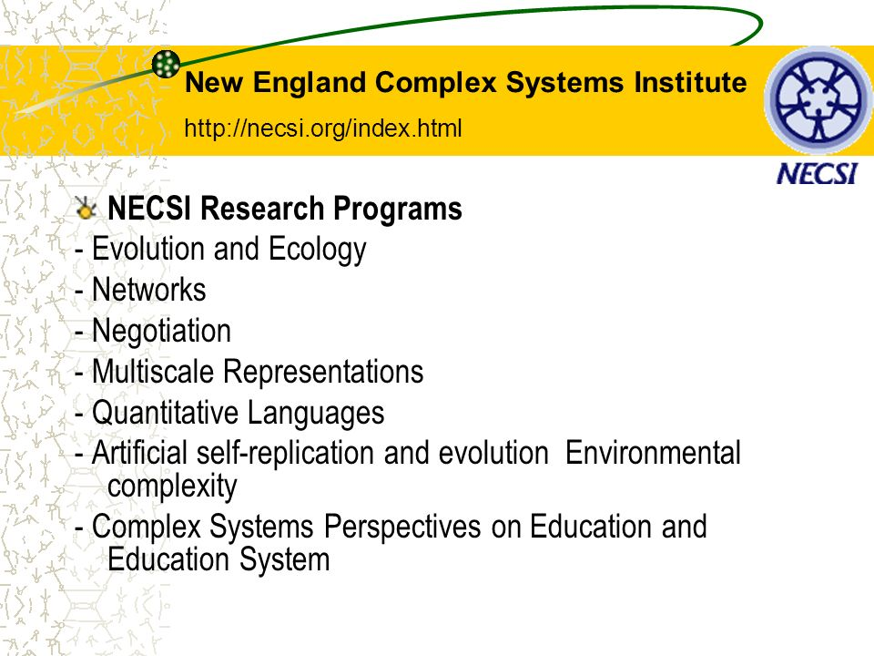 NECSI Research Programs - Evolution and Ecology - Networks