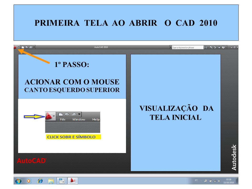 PRIMEIRA TELA AO ABRIR O CAD 2010 CANTO ESQUERDO SUPERIOR