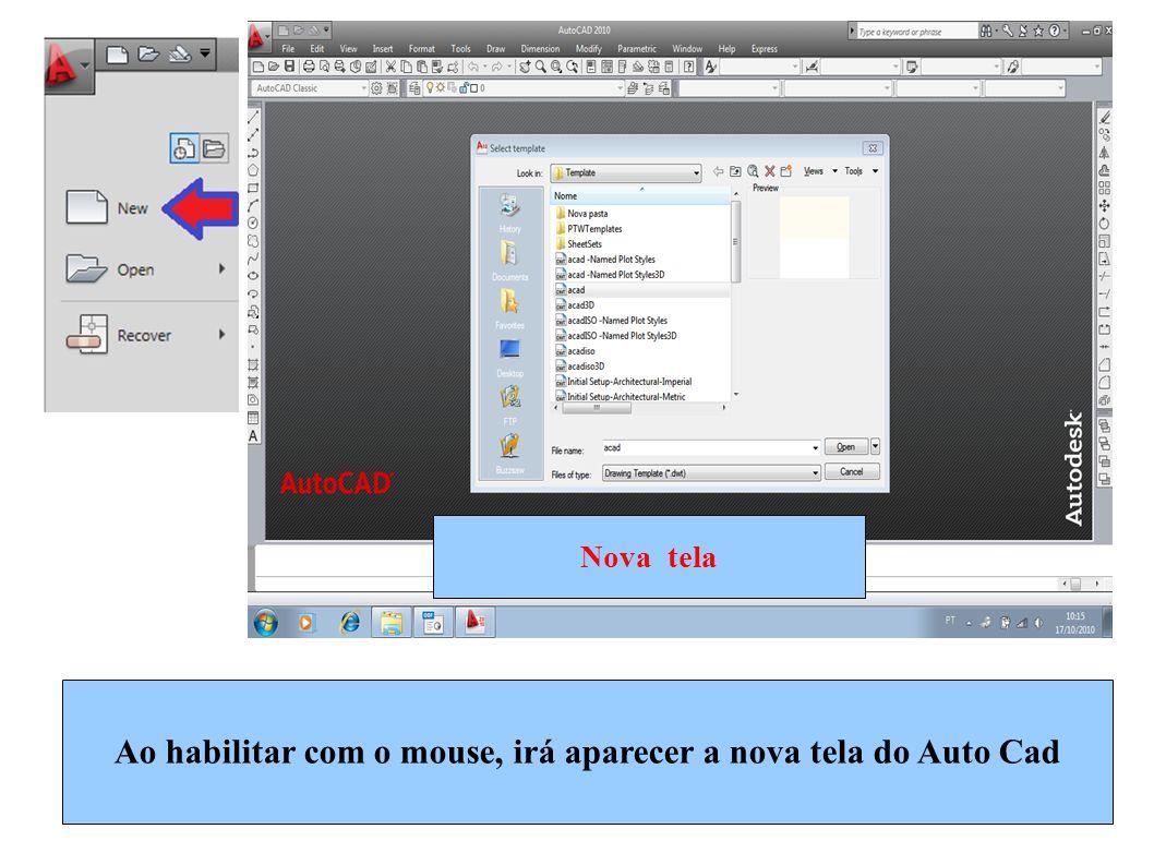 Ao habilitar com o mouse, irá aparecer a nova tela do Auto Cad